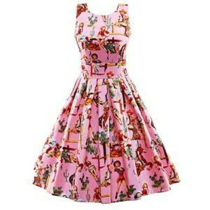 Dresses & Skirts - Pink Cowgirl Pinup Dress Plus Size